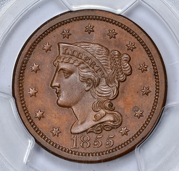 Picture of 1855 BRAIDED HAIR 1C, SLANTED 55 PR64 Brown
