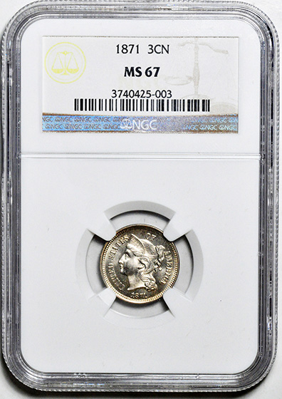 Picture of 1871 NICKEL 3CN MS67