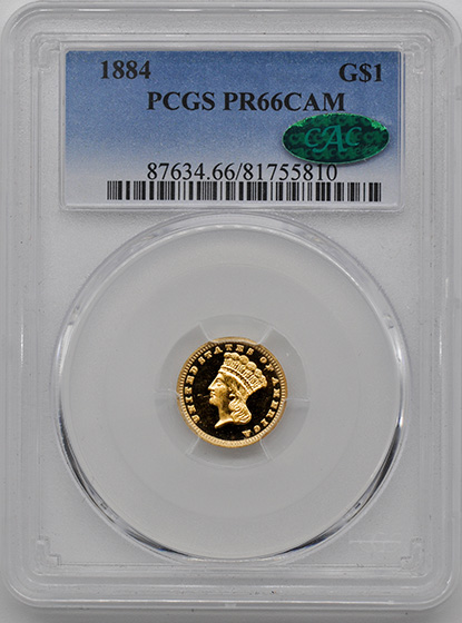 Picture of 1884 GOLD G$1, TYPE 3 PR66 Cameo