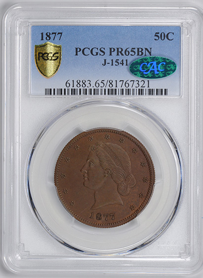 Picture of 1877 50C J-1541 PR65 Brown