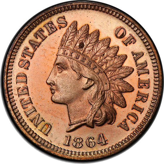 Picture of 1864 INDIAN BRONZE 1C, L ON RIBBON PR64 Red