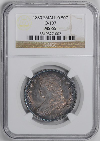 Picture of 1830 CAPPED BUST 50C, SMALL 0, LETTERED EDGE MS65