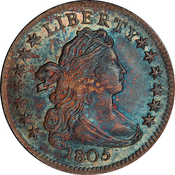 Picture of 1805 DRAPED BUST 10C, 4 BERRIES MS67