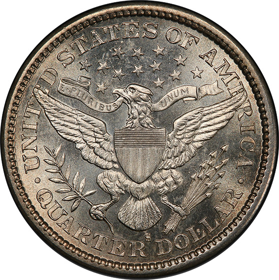 Picture of 1896-S BARBER 25C MS66