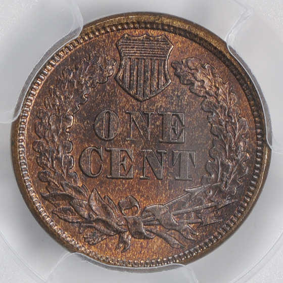 Picture of 1877 INDIAN BRONZE 1C MS65 Red Brown