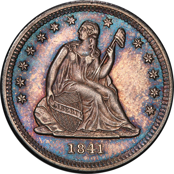 Picture of 1841 LIBERTY SEATED 25C, NO MOTTO MS64