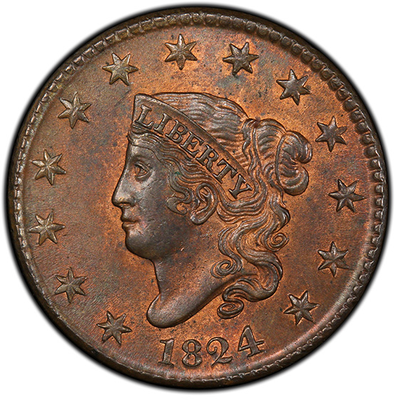 Picture of 1824 CORONET HEAD 1C MS64 Red Brown