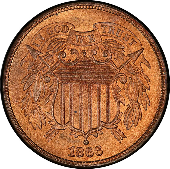 Picture of 1866 2C MS66 Red