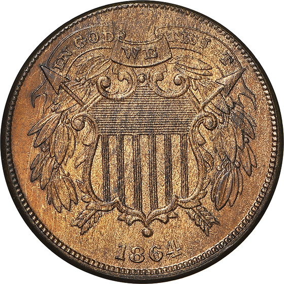 Picture of 1864 2C, SMALL MOTTO MS66 Red Brown