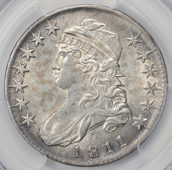 Picture of 1811 CAPPED BUST 50C, SMALL 8 AU58