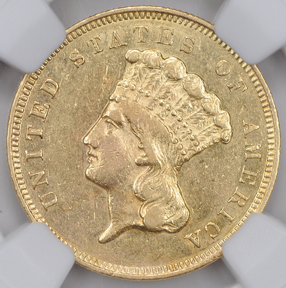 Picture of 1857-S INDIAN PRINCESS $3 AU55