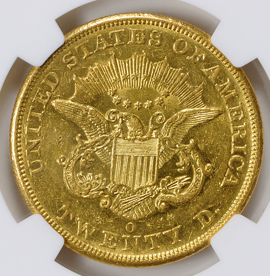Picture of 1851-O LIBERTY $20, NO MOTTO AU58