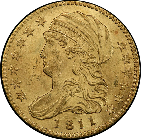 Picture of 1811 CAPPED BUST $5, TALL 5 MS65