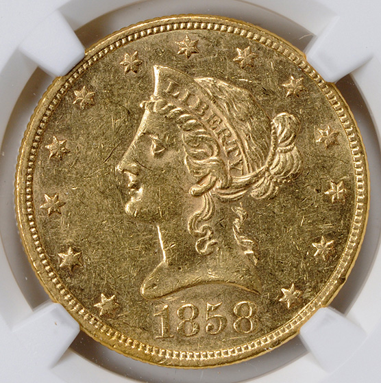 Picture of 1858 LIBERTY $10, NO MOTTO MS60