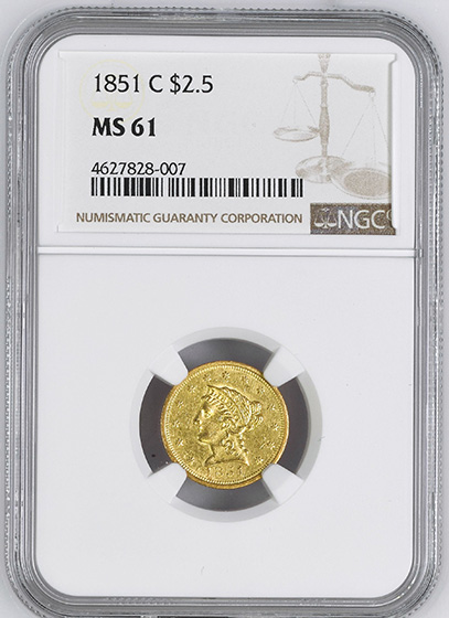 Picture of 1851-C LIBERTY HEAD $2.5 MS61