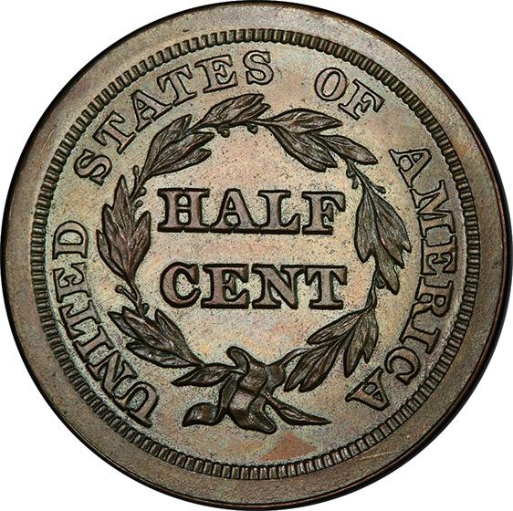 Picture of 1842 BRAIDED HAIR 1/2C, RESTRIKE PR64 Brown