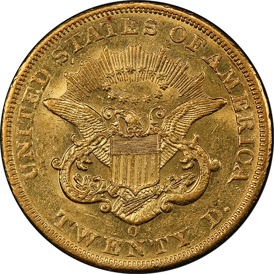 Picture of 1851-O LIBERTY HEAD $20 AU58