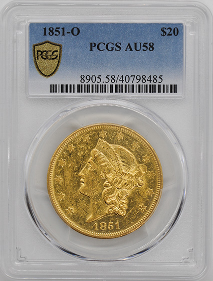 Picture of 1851-O LIBERTY HEAD $20 AU58