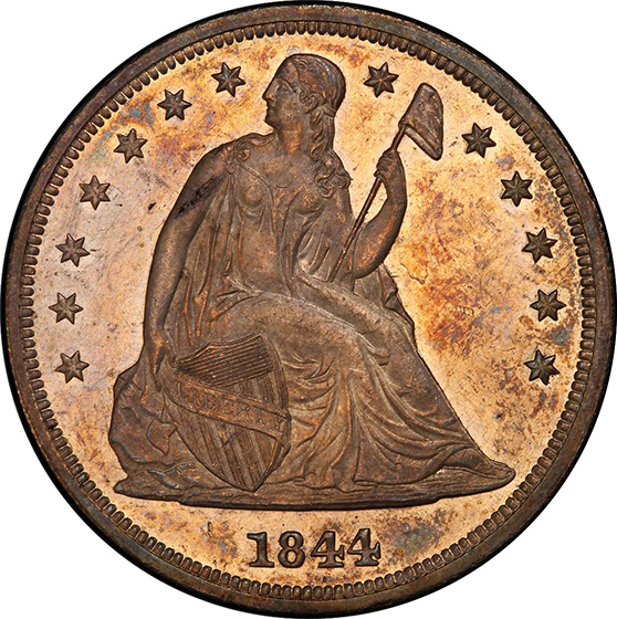 Picture of 1844 LIBERTY SEATED S$1, NO MOTTO MS63