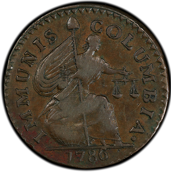 Picture of 1786 COP PAT, SHIELD REV IMMCOL AU50 Brown