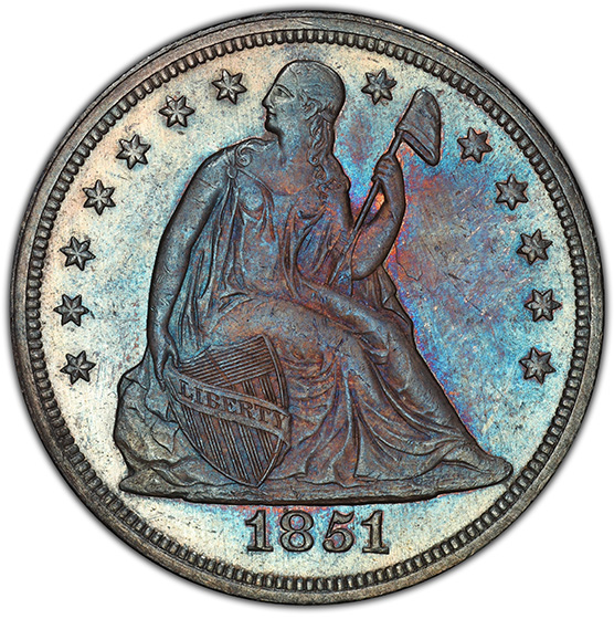 Picture of 1851 LIBERTY SEATED S$1, NO MOTTO MS64