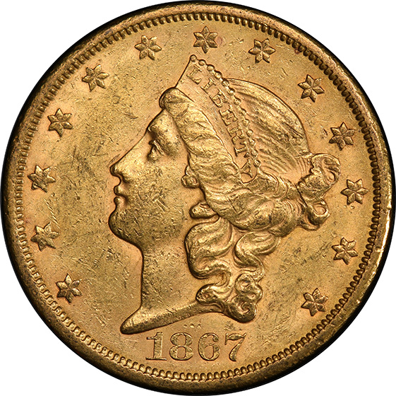 Picture of 1867-S LIBERTY HEAD $20 MS60