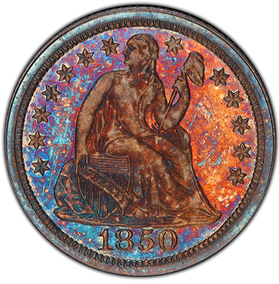 Picture of 1850 LIBERTY SEATED 10C PR66+
