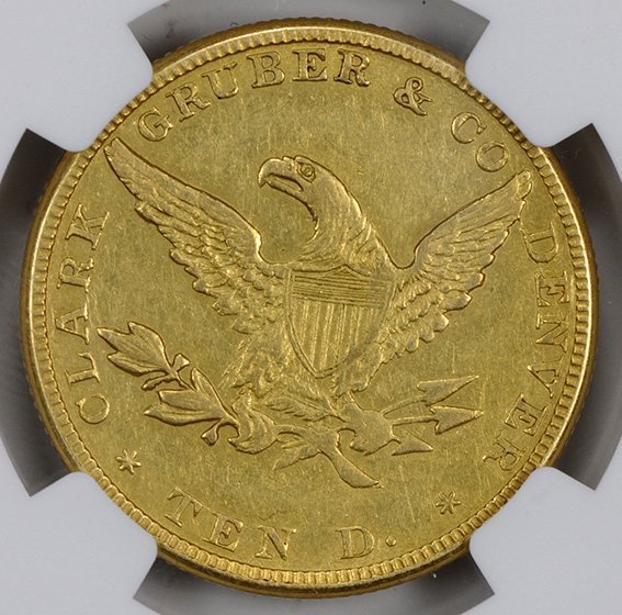 Picture of 1861 $10, CLARK GRUBER AU58