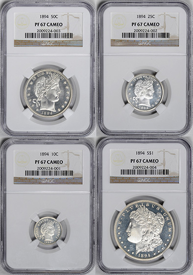 Picture of 1894 PROOF SET, 4-COIN SILVER SET PRRA Cameo