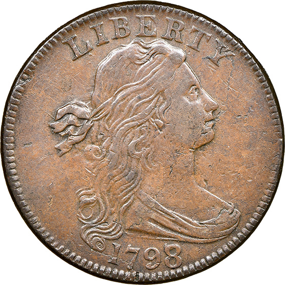 Picture of 1798/7 DRAPED BUST 1C AU58 Brown