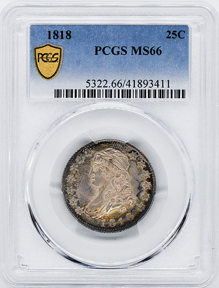 Picture of 1818 CAPPED BUST 25C MS66