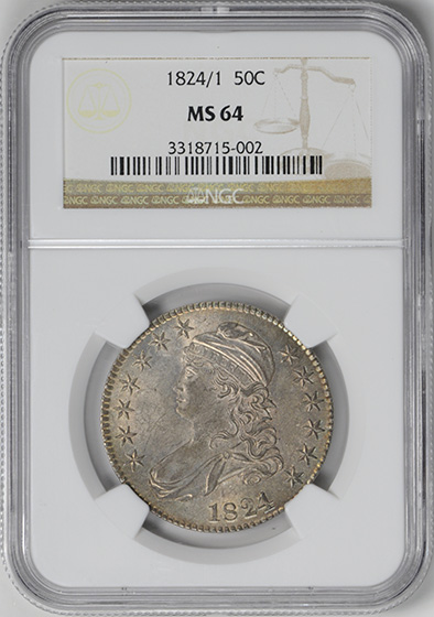 Picture of 1824/1 CAPPED BUST 50C MS64