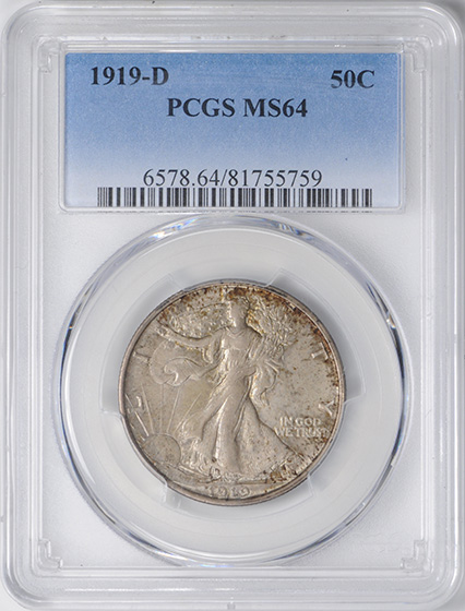 Picture of 1919-D WALKING LIBERTY 50C MS64