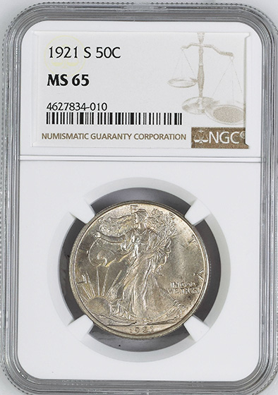 Picture of 1921-S WALKING LIBERTY 50C MS65