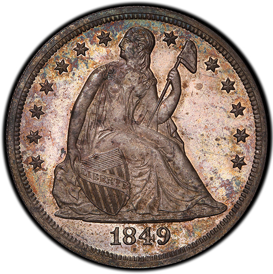 Picture of 1849 LIBERTY SEATED S$1, NO MOTTO PR65