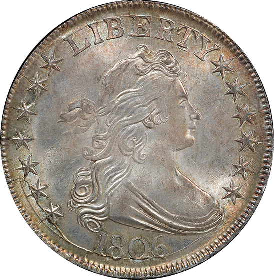 Picture of 1806 DRAPED BUST 50C, POINTED 6, STEM MS65