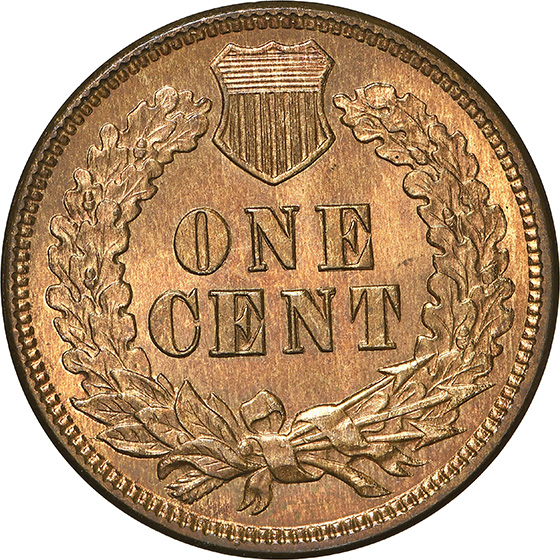 Picture of 1875 INDIAN BRONZE 1C MS66 Red