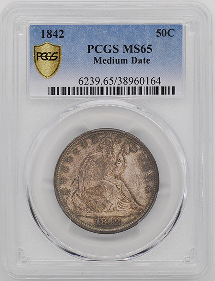 Picture of 1842 LIBERTY SEATED 50C, MEDIUM DATE MS65
