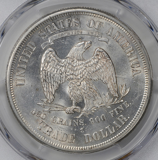 Picture of 1875-S/CC TRADE T$1, OVERMINTMARK MS64