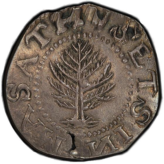Picture of 1652 PINE TREE SHILLING, PINE TR, LG PL, NO PEL AU55
