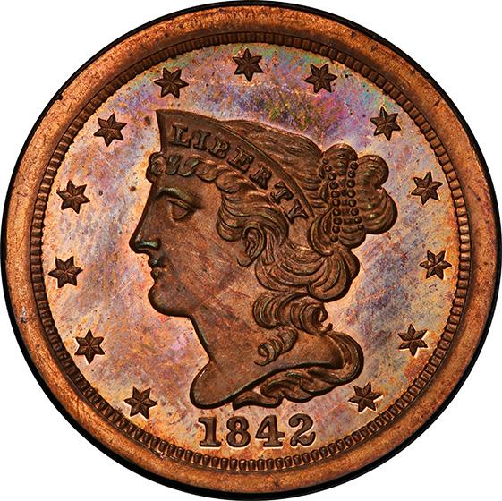 Picture of 1842 BRAIDED HAIR 1/2C, RESTRIKE PR65 Brown