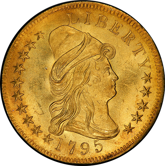 Picture of 1795 DRAPED BUST $10, 13 LEAVES, SMALL EAGLE MS65