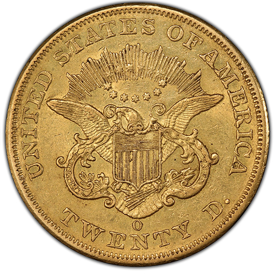 Picture of 1852-O LIBERTY HEAD $20 AU55