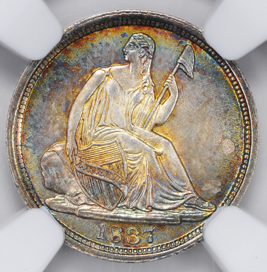 Picture of 1837 LIBERTY SEATED H10C, NO STARS, LARGE DATE MS67+