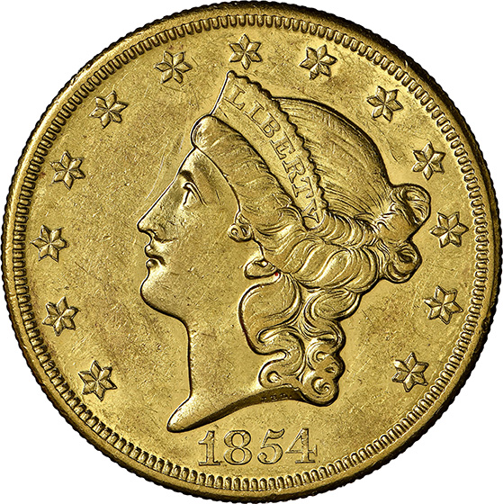 Picture of 1854-O LIBERTY HEAD $20 AU58