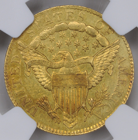 Picture of 1806/5 DRAPED BUST $2.5, 7X6 STARS AU55