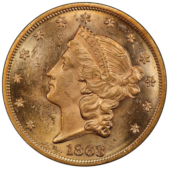 Picture of 1863 LIBERTY HEAD $20 MS63