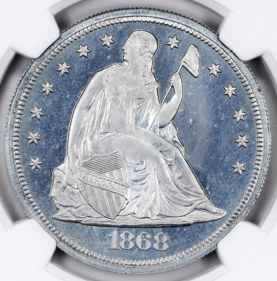 Picture of 1868 LIBERTY SEATED S$1 J-652 PR67 Cameo