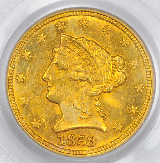 Picture of 1858-C LIBERTY HEAD $2.5 MS62