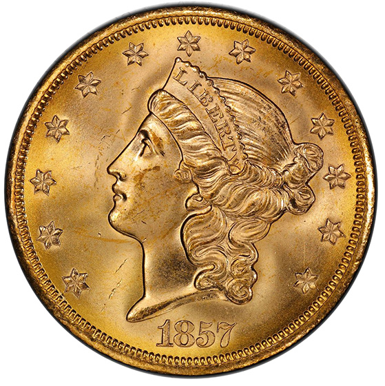 Picture of 1857-S LIBERTY HEAD $20 MS65+